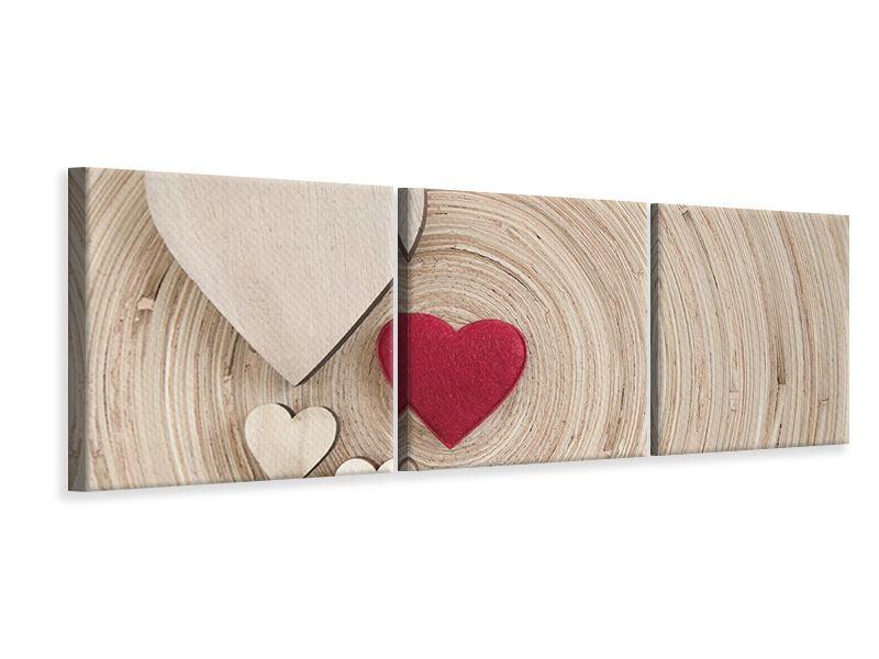 Panorama Leinwandbild 3-teilig Herzen