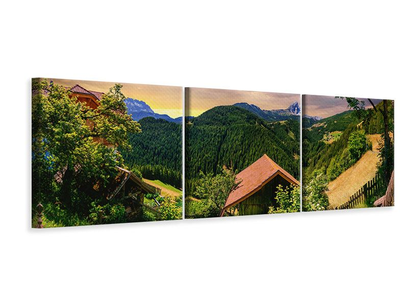 Panorama Leinwandbild 3-teilig Schweizer Berge im Sommer