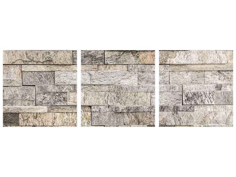 Panorama Leinwandbild 3-teilig Elegante Steinmauer