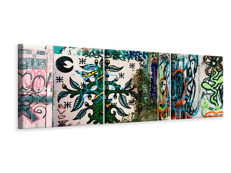 Panorama Leinwandbild 3-teilig Graffiti im Hinterhof