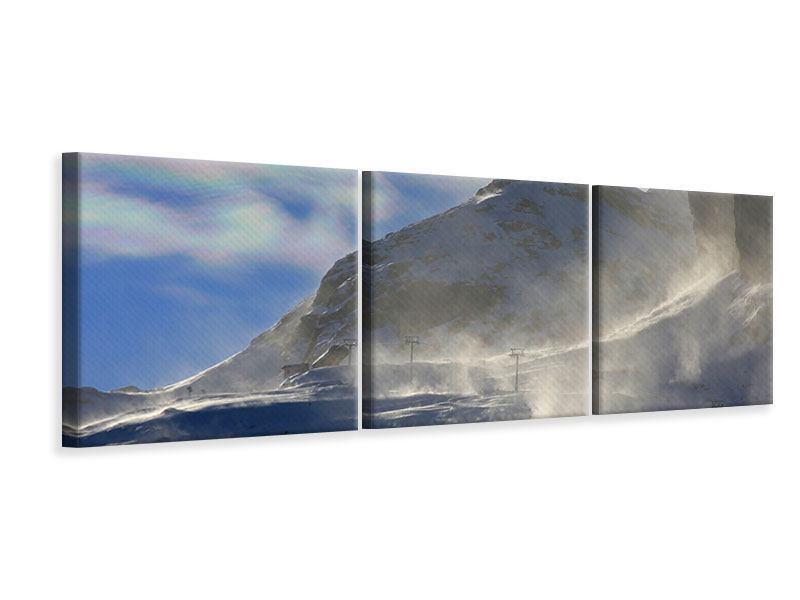 Panorama Leinwandbild 3-teilig Mit Schneeverwehungen den Berg in Szene gesetzt