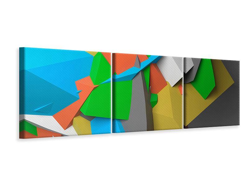 Panorama Leinwandbild 3-teilig 3D-Geometrische Figuren