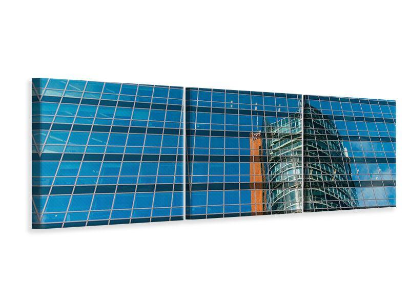Panorama Leinwandbild 3-teilig Wolkenkratzer-Spiegel