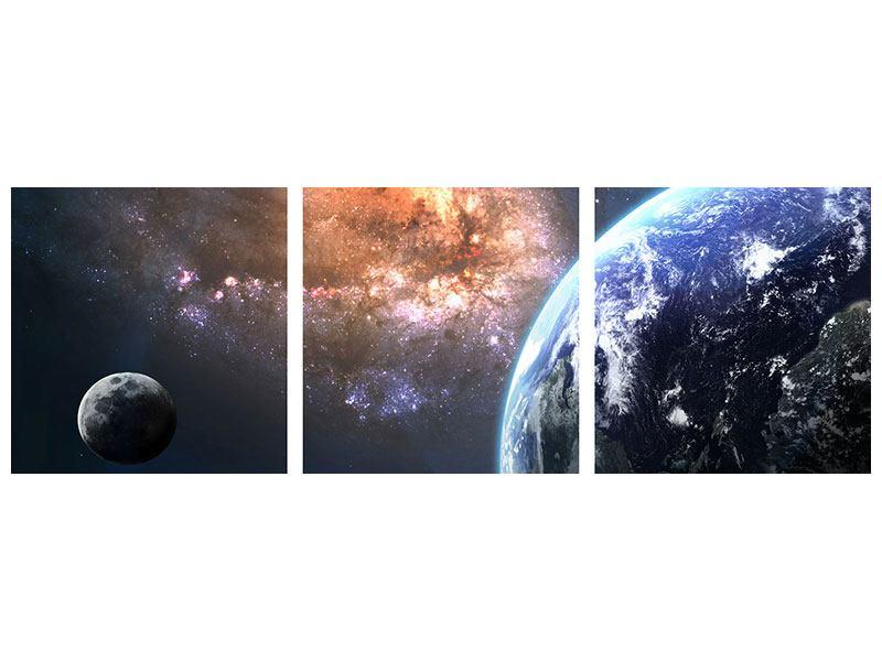 Panorama Leinwandbild 3-teilig Universus