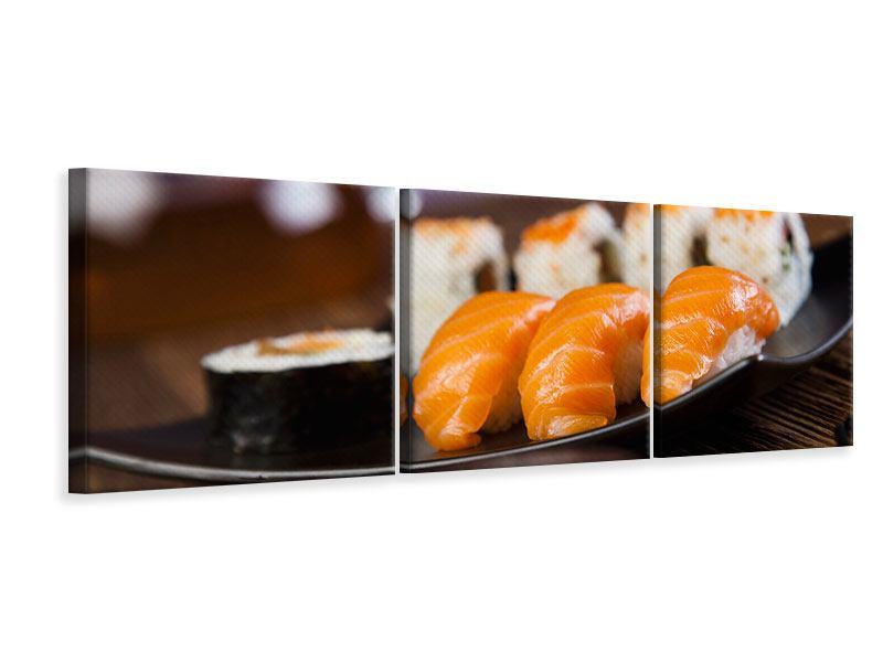 Panorama Leinwandbild 3-teilig Sushi-Gericht