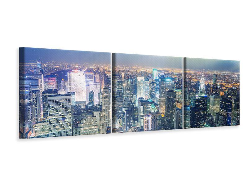 Panorama Leinwandbild 3-teilig Skyline NY bei Sonnenuntergang