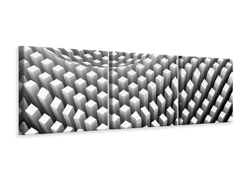 Panorama Leinwandbild 3-teilig 3D-Rasterdesign