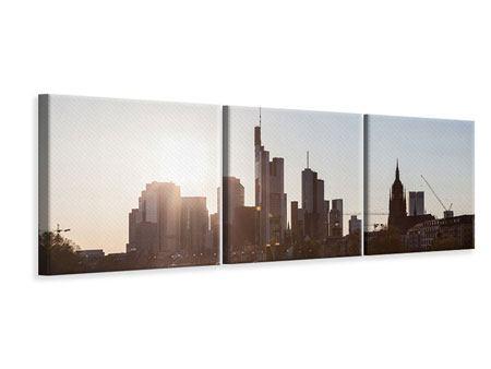 Panorama Leinwandbild 3-teilig Skyline Sonnenaufgang bei Frankfurt am Main