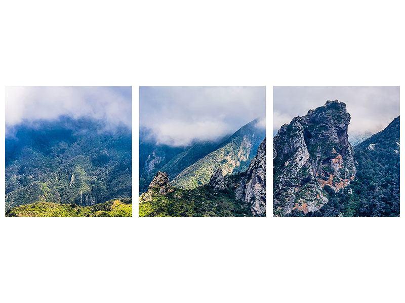 Panorama Leinwandbild 3-teilig Der stille Berg