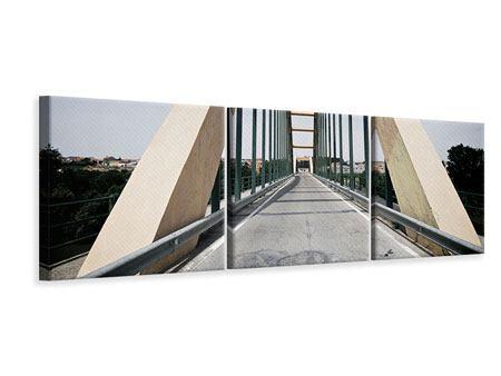 Panorama Leinwandbild 3-teilig Imposante Hängebrücke