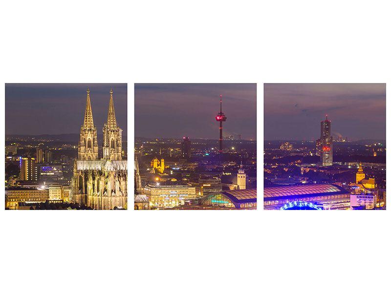 Panorama Leinwandbild 3-teilig Skyline Kölner Dom bei Nacht