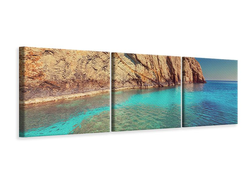 Panorama Leinwandbild 3-teilig Wasser