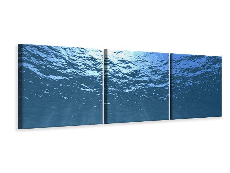 Panorama Leinwandbild 3-teilig Sonnenstrahlen unter Wasser
