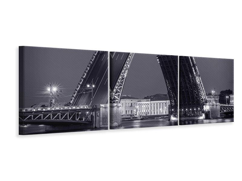 Panorama Leinwandbild 3-teilig Klappbrücke bei Nacht