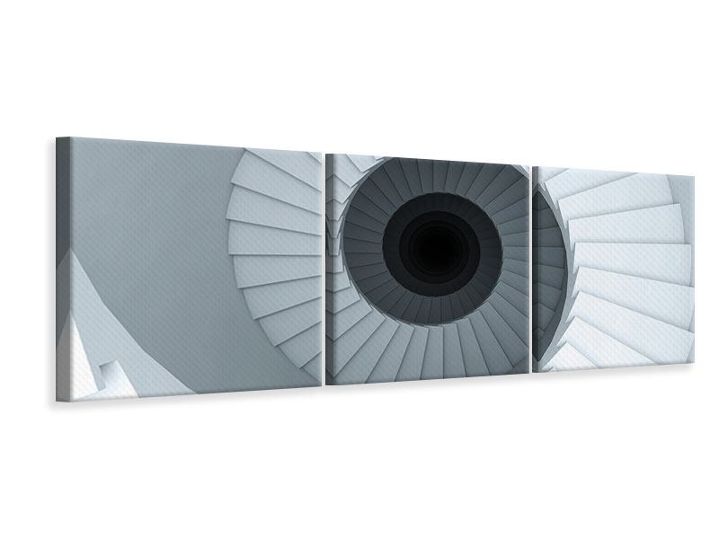 Panorama Leinwandbild 3-teilig 3D Wendeltreppe