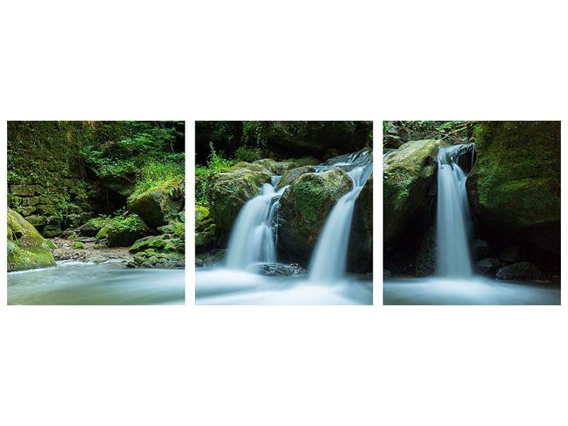 Panorama Leinwandbild 3-teilig Fallendes Wasser