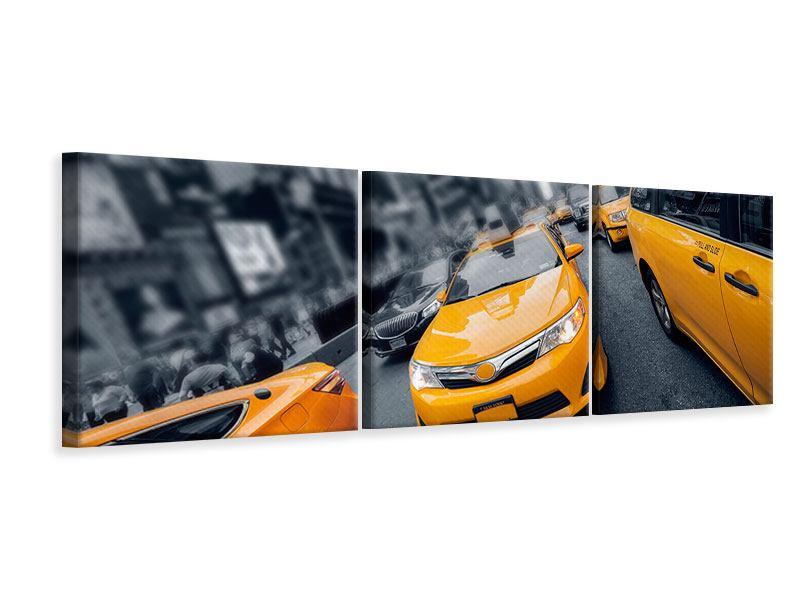 Panorama Leinwandbild 3-teilig Taxi in NYC