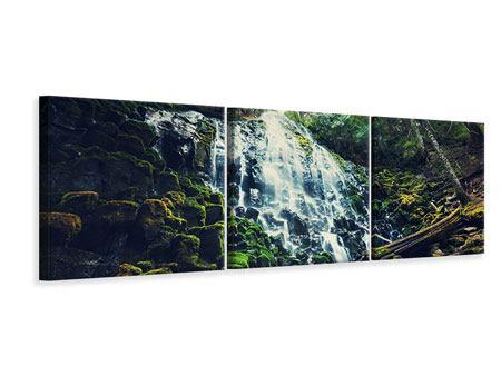 Panorama Leinwandbild 3-teilig Feng Shui & Wasserfall