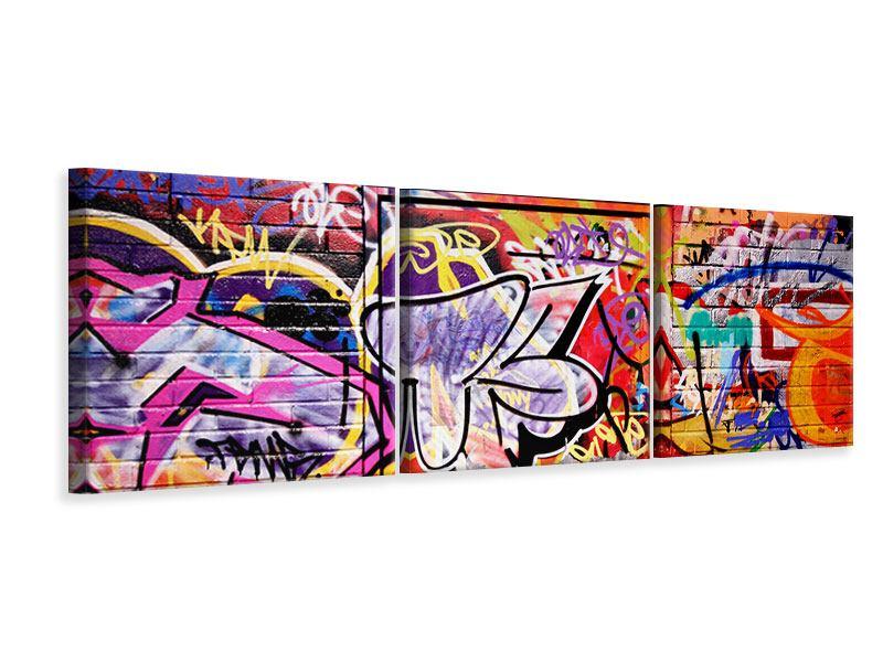 Panorama Leinwandbild 3-teilig Graffiti Kunst