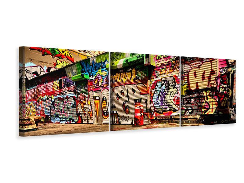 Panorama Leinwandbild 3-teilig NY Graffiti