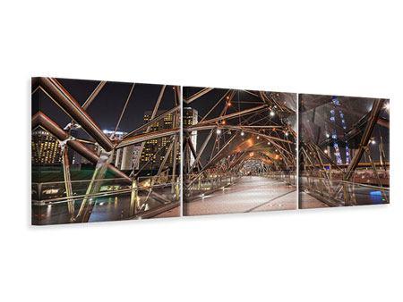 Panorama Leinwandbild 3-teilig Brückenlichter
