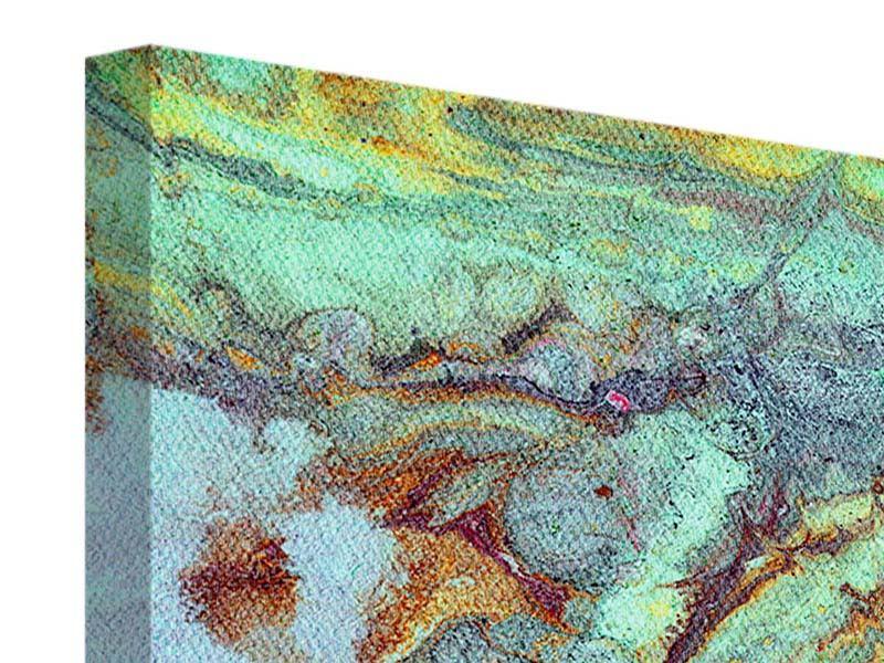 Panorama Leinwandbild 3-teilig Marmor in Grün