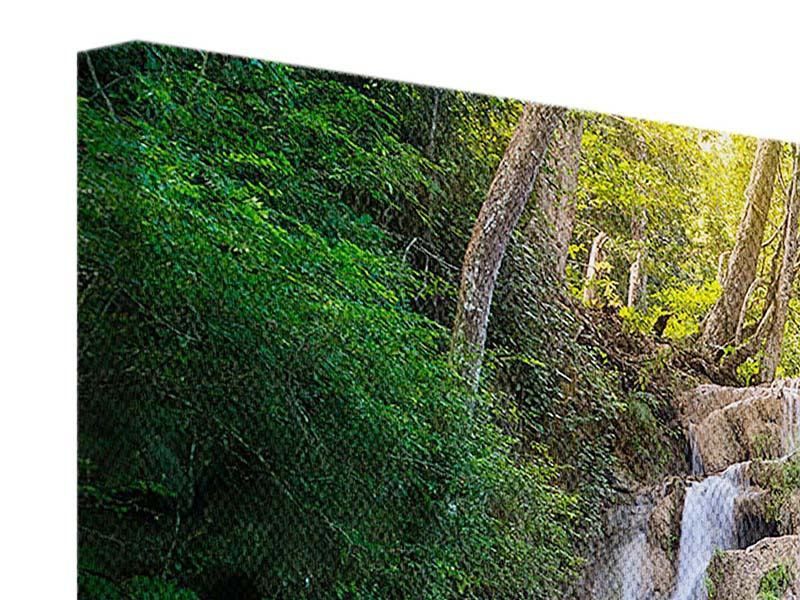 Panorama Leinwandbild 3-teilig Terrasse am Wasserfall