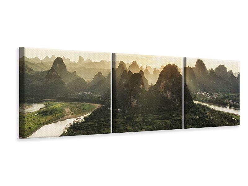 Panorama Leinwandbild 3-teilig Die Berge von Xingping