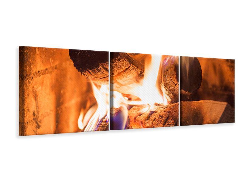 Panorama Leinwandbild 3-teilig Kaminfeuer