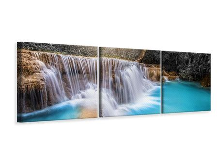 Panorama Leinwandbild 3-teilig Glücklicher Wasserfall