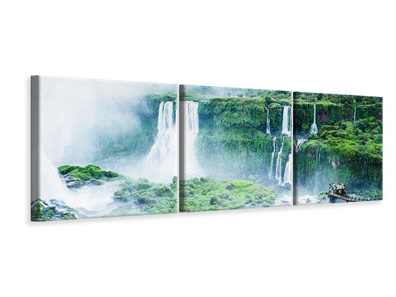 Panorama Leinwandbild 3-teilig Wasserfälle
