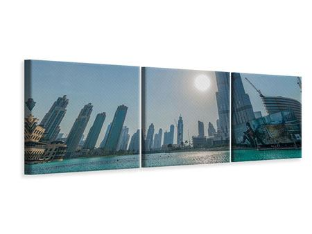 Panorama Leinwandbild 3-teilig Wolkenkratzer-Architektur Dubai