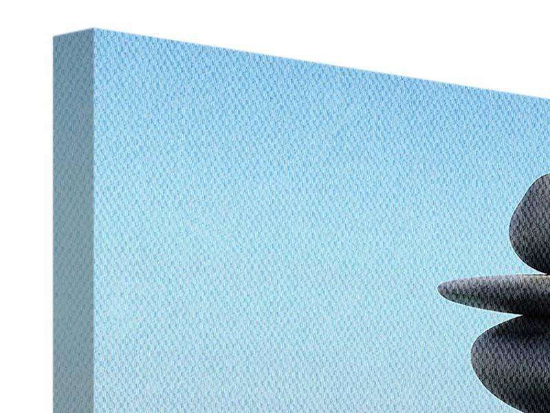 Panorama Leinwandbild 3-teilig Zen Steine