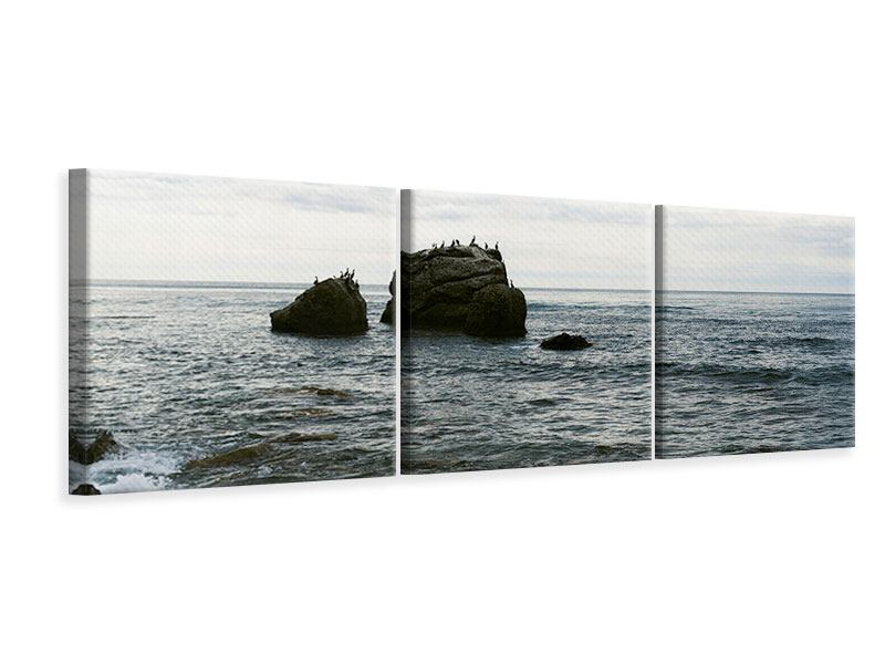 Panorama Leinwandbild 3-teilig Leise Wellen