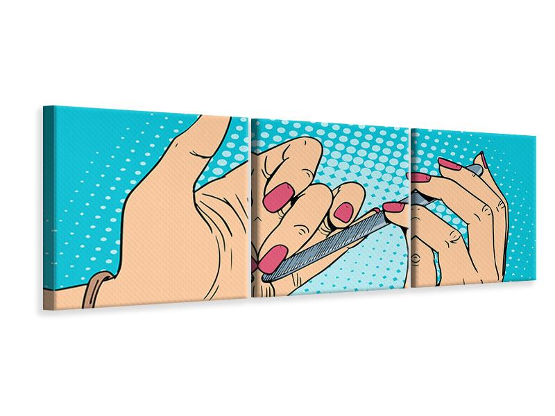 Panorama Leinwandbild 3-teilig Pop Art Nails