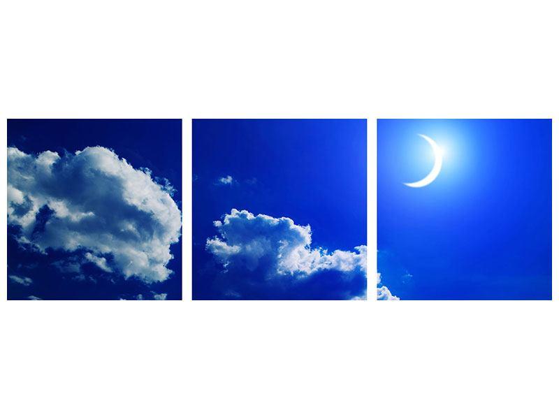 Panorama Leinwandbild 3-teilig Der Mond