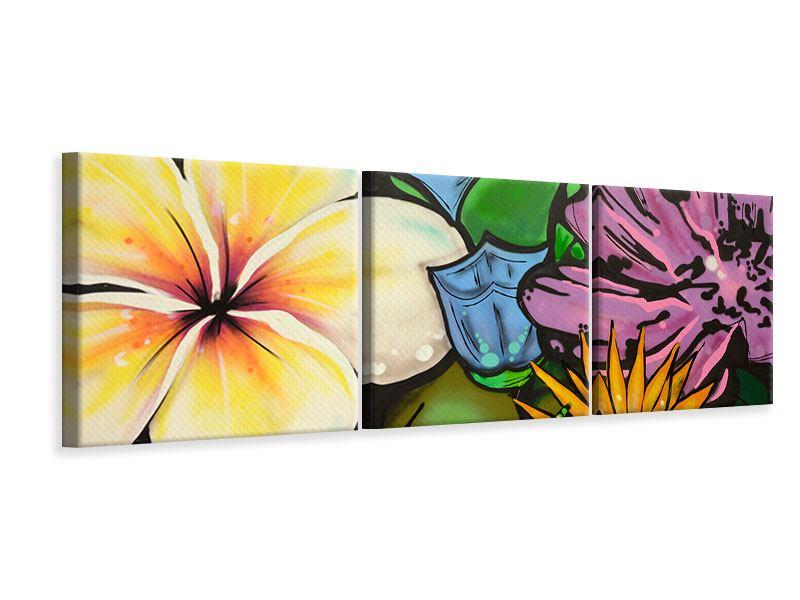 Panorama Leinwandbild 3-teilig Graffiti Flowers