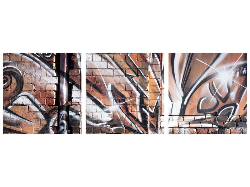 Panorama Leinwandbild 3-teilig Graffiti Mauer