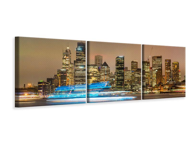 Panorama Leinwandbild 3-teilig Skyline Sydney im Lichtermeer