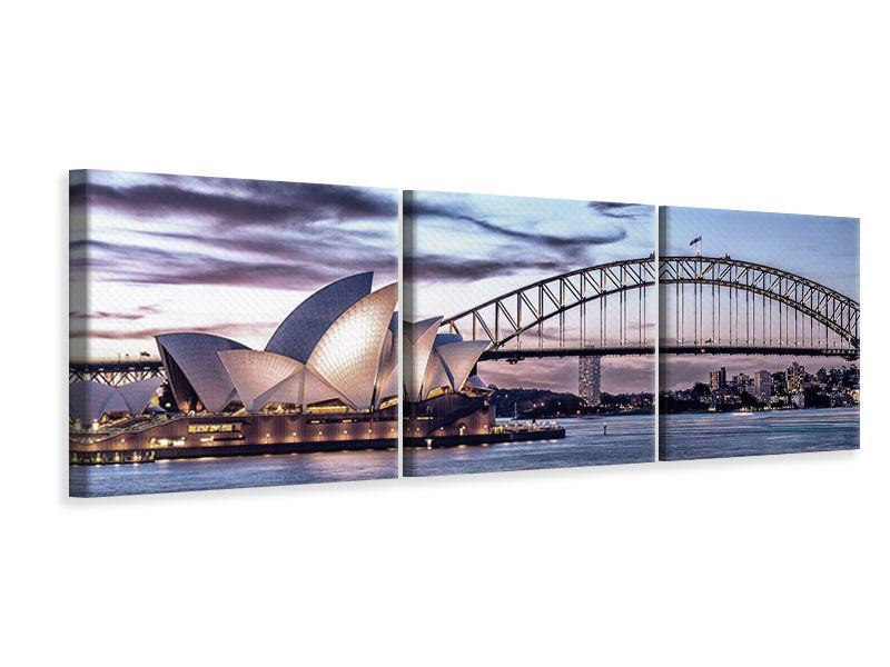 Panorama Leinwandbild 3-teilig Skyline Sydney Opera House