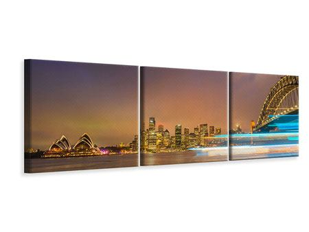 Panorama Leinwandbild 3-teilig Skyline Opera House in Sydney im Abendlicht