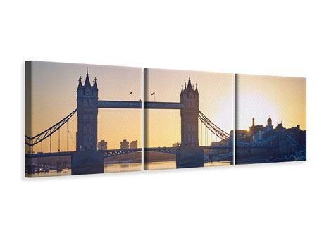 Panorama Leinwandbild 3-teilig Tower Bridge bei Sonnenuntergang