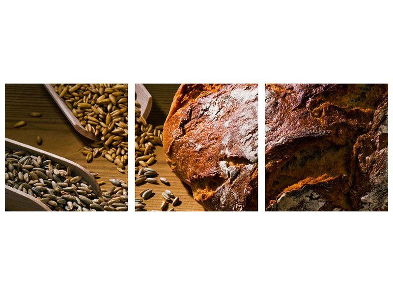Panorama Leinwandbild 3-teilig Das Brot