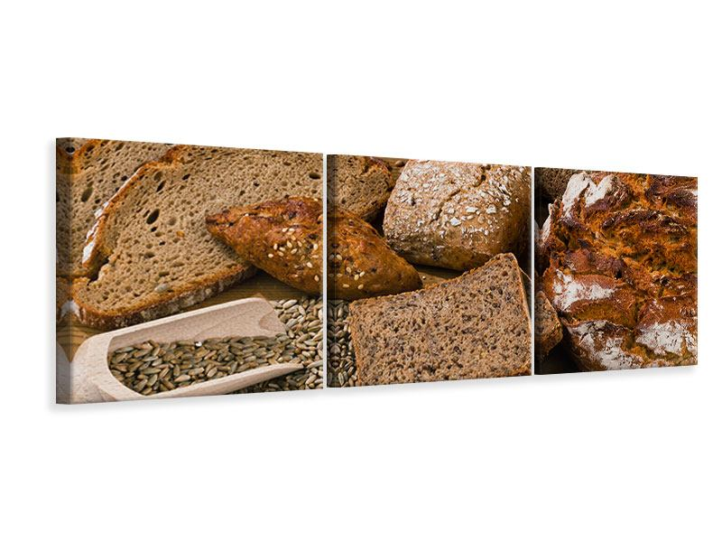 Panorama Leinwandbild 3-teilig Brotarten