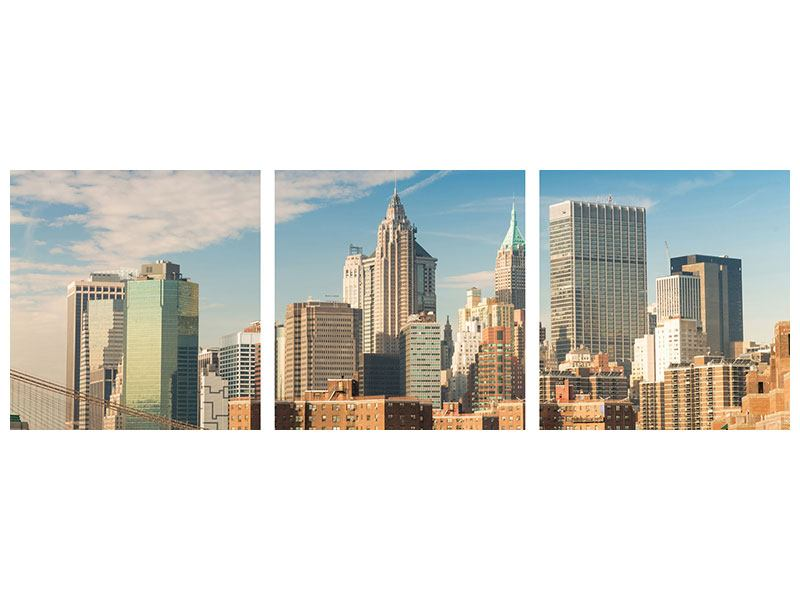 Panorama Leinwandbild 3-teilig Skyline New York
