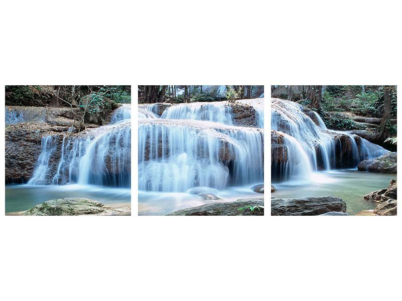 Panorama Leinwandbild 3-teilig Ein Wasserfall