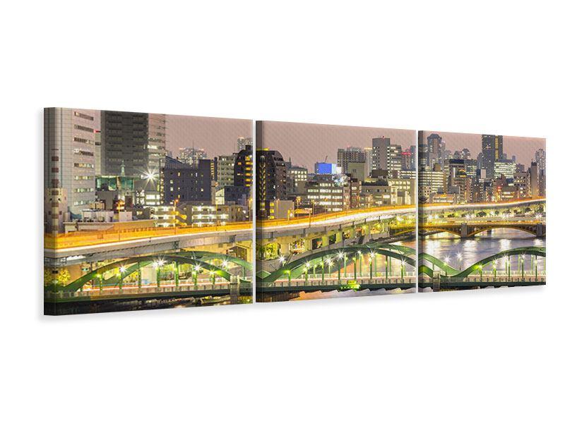 Panorama Leinwandbild 3-teilig Skyline Das Lichtermeer von Tokio