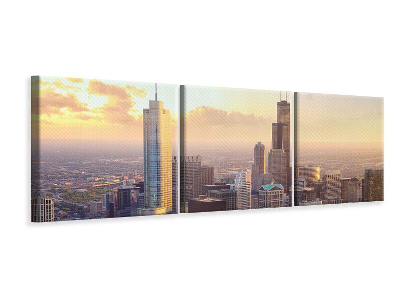 Panorama Leinwandbild 3-teilig Skyline Chicago