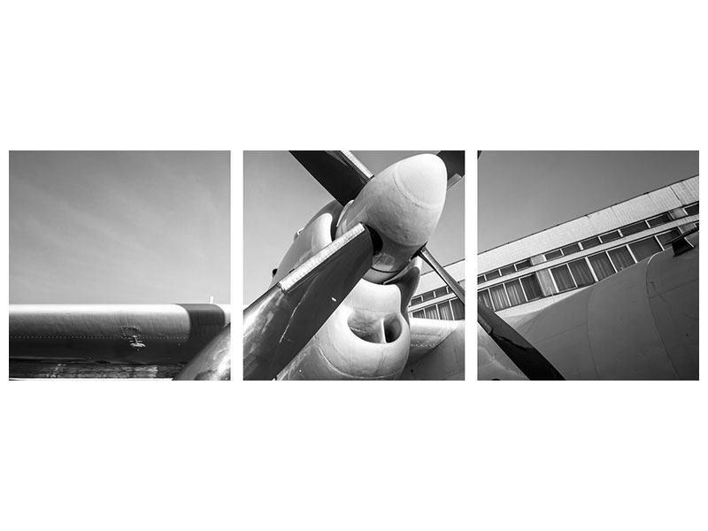 Panorama Leinwandbild 3-teilig Nostalgisches Flugzeug