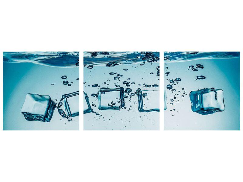 Panorama Leinwandbild 3-teilig Eiswürfel-Quadro